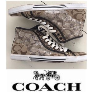 """Coach sequined high top """"C"""" sneakers Sz 9B"""